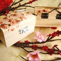 Small Sakura Wooden box Cherry Blossom Ring bearer Gift box Wedding decor Gift idea