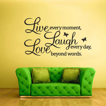 Wall Vinyl Sticker Decals Decor Art Bedroom Design Mural Words Sign Quote Live Life Laugh Love (z875)