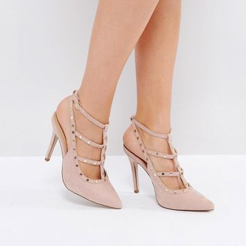 New Look Studded Strappy Heeled Shoe at asos.com