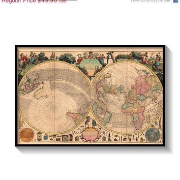 """Spring sale 15% OFF Vintage map """"A New and Correct Map of the World"""" reproduction 24"""" x 36"""""""
