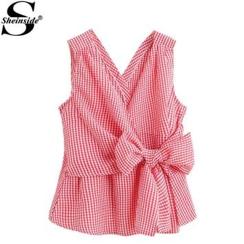 Sheinside Bow Tie Peplum Blouse 2017 Women Red Plaid Cute Tied Waist Sleeveless Summer Tops Fashion Sexy V Neck Ruched Blouse