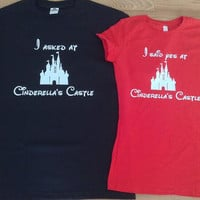 Free/Fast Shipping Disney Castle Engagement  Couples T Shirts
