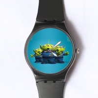 Custom TOY STORY Little Green Man Watches Classic Black Plastic Watch WT-0825