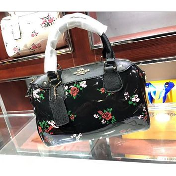 Coach Trending Women Stylish Flower Pattern Leather Tote Handbag Shoulder Bag I-WXZ2H