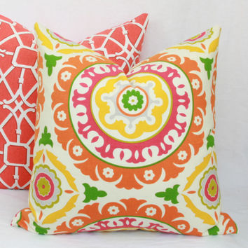 "Pink, orange & green decorative throw pillow cover. 20"" x 20"" toss pillow cover."