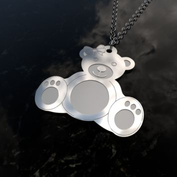 Mrs Teddy Bear sterling silver pendant necklace and chain