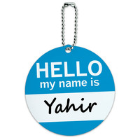 Yahir Hello My Name Is Round ID Card Luggage Tag