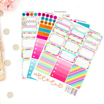Erin Condren Rockin Rainbow Weekly Kit Planner Stickers! Perfect For Erin Condren Life Planner,Happy Planner, Filofax,Personal, Calendar!