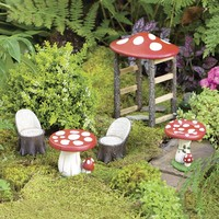 Mushroom Fairy Garden Resin Furniture Set - Plow & Hearth