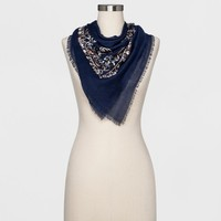 Women's Embroidered Scarf - A New Day™ Navy One Size