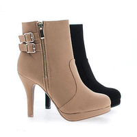 Loma58 Round Toe Zip Up Low Platform Stiletto Heel Ankle Bootie