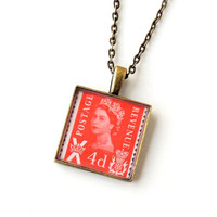 Postage Stamp Necklace, Recycled Red UK British Stamp with Queen's Head Pendant, Vintage Style, Resin Jewelry Jewellery, Upcycled Recycled