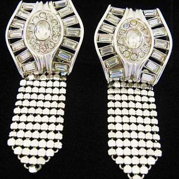 "Dangle Rhinestone Earrings Whiting & Davis Signed Silver Metal Mesh High Fashion BIG 2 3/4"" Vintage"