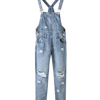 Cropped Denim Ripped Overall