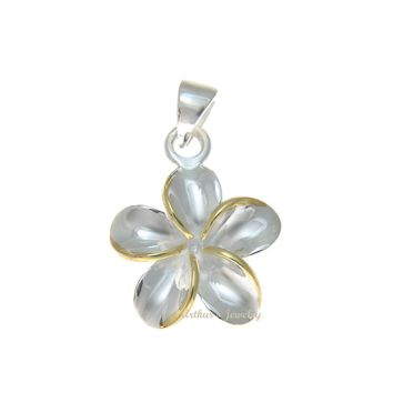 STERLING SILVER 925 SHINY HAWAIIAN 15MM PLUMERIA FLOWER PENDANT 2 TONE YELLOW