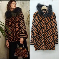 Fendi Autumn Winter Fashion Women Hooded Zipper Cardigan Jacket Coat