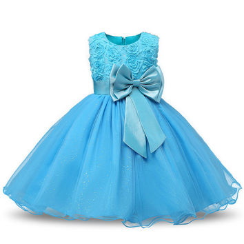 Princess Flower Girl Aqua Blue Pageant Dress Sleeveless Floral and Tulle A-Line Frilly Dress 2T to 12Yr
