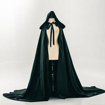 Black cloak dark satin cape with hood
