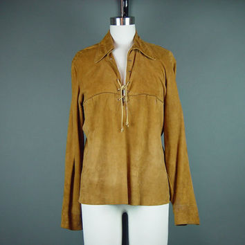 40s Suede Shirt Top Vintage 1940s Western Rust Buttery Soft Thin Laced Rodeo Sport Togs