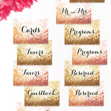 7x5 & 6x5 Printable wedding signs set: cards, gifts, favors, sparkles, program,s Mr and Mrs, gold wedding, rose gold wedding  -gp141 Olivia