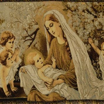 Tache 28 x 47 Inch Woven Gold Christ Among the Blossoms Tapestry Wall Hanging With Hanging Loops (WH-DA13253)