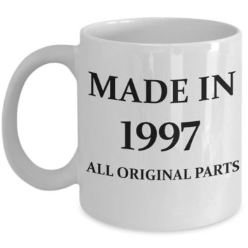 1997 birthday gifts for men cd & women, 21st Birthday Gifts - Made in 1997 All Original Parts - White Porcelain Coffee Cup,Premium 11 oz Funny Mugs White coffee cup Gifts Ideas