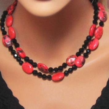 Red Turquoise and Black Faceted Glass Necklace Multistrand Statement OOAK Jewelry