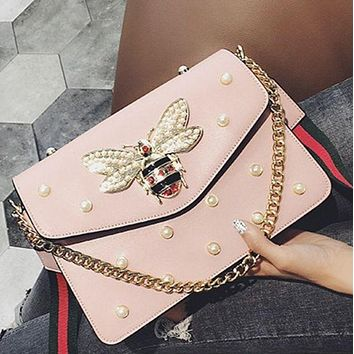 Small honeybee pearl chain small square bag with simple shoulder bag Pink F