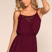 Smitten All Day Romper - Maroon