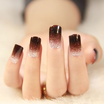 10 pcs Nail the bride finished plastic crystal nail false nails patch does not hurt her nails = 1929357124