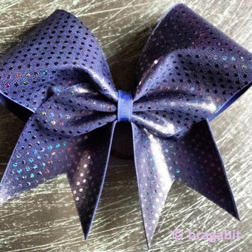Bow with holographic dots in navy.
