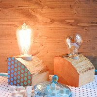 Set of two wood lamps made out of reclaimed wood