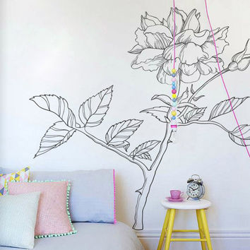 I205 Wall Decal Vinyl Sticker Art Decor Design rose thorns flowers plants nature ecology beauty tattoo yard flowerbed  Living Room Bedroom
