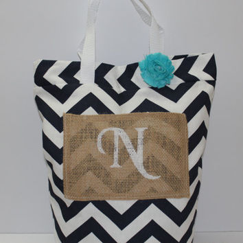 Women's Tote Bag - Rustic Bag - Bridesmaid Gift - Beach Bag - Navy Chevron Tote - Burlap Tote Bag