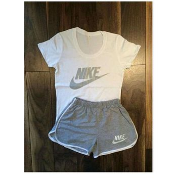 Nike Women Casual Short Sleeve Top Sport Gym Sweatpants Set Two-Piece Sportswear