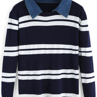 Shirt Collar Striped Long Sleeve Sweater