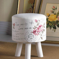Coastal Living-Postage Stamps Script Butterfly Foot Stool