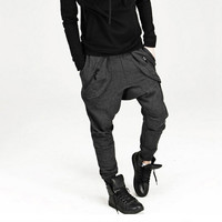 New 2014 Mens Pants Casual Fashion: Drop Crotch Pants Hip Hop Style Jogging Pants Men Fitted Sweatpants Outdoor Sports Trousers