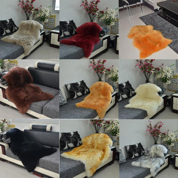 Luxury Faux Sheepskin Lambskin Natural Long Wool Fur Rug Carpet Mat Bedroom