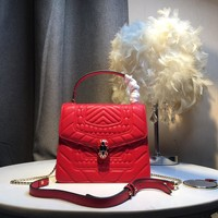 Kuyou Gb5988 Bvlgari Serpenti Forever Flap Bag Top Handle Bag In Red Quilted 20¡Á16¡Á8cm