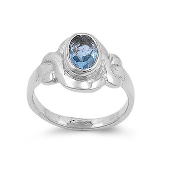 Sterling Silver Filigree Oval CZ Aquamarine 9MM CZ Petite Ring