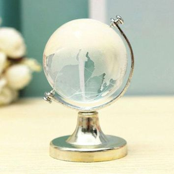 Cute Crafts Art Glass Sphere Ball Table Ornaments Crystal World Map 6.5*4.5*4.5cm Clear Gold Silver Desk Decor Collection