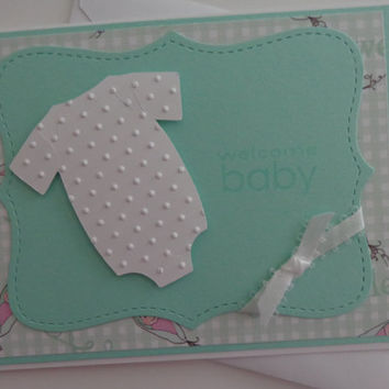 Handmade New Baby Card, Gender Neutral Baby Announcement Card, Baby Shower Card