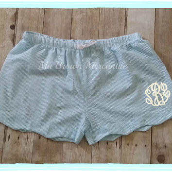 SALE - Monogrammed Plus Size Seersucker Shorts - Scallopped Hem Shorts - Aqua Seersucker Lounge Shorts, XL