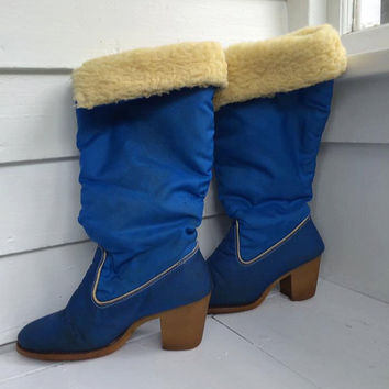 Zodiac Winter Boots Blue 70s 80s Vintage 6 5 AS IS