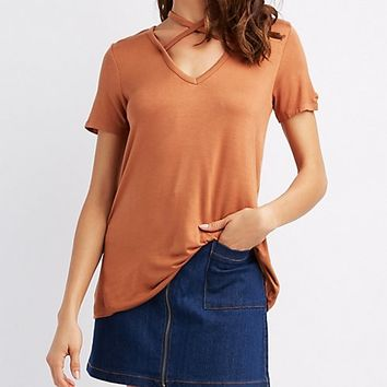 Caged-Front Tee | Charlotte Russe