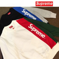 """Supreme"" Fashion Casual Male Female  Large Size Multicolor Stitching Letter Print Pocket Long Sleeve Student Couple Cotton Sweater"