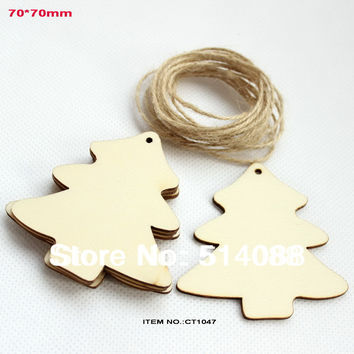 (50pcs/lot)  70mm string hanging natural unfinished wood tree tags crafts Christmas wishing tree tags-CT1047