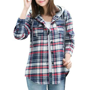 Plaid Hooded Casual Spring Blouse Women Shirts Tops Full Sleeve Pockets Slim Cotton