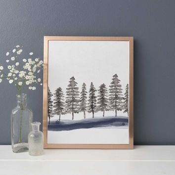 Minimalist Nordic Forest Pine Tree Tops Wall Art Print